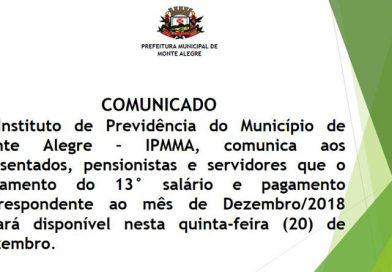 Comunicado do Instituto de previdência do Município de Monte Alegre