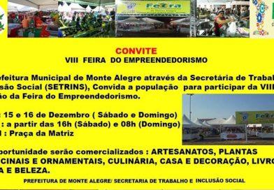 Convite para a VIII Feira do Empreendedorismo de Monte Alegre