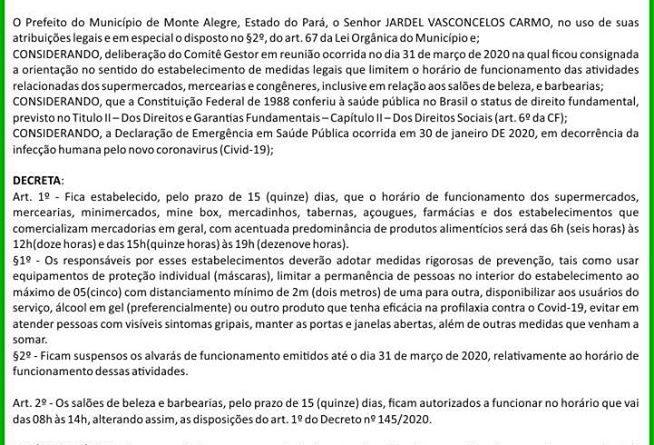 PREFEITURA MUNICIPAL DE MONTE ALEGRE DECRETO Nº 155/2020