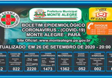 Boletim Epidemiológico Monte Alegre – PA- 26/09/2020