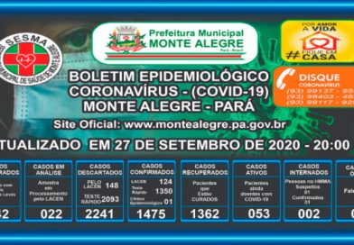 Boletim Epidemiológico Monte Alegre – PA- 27/09/2020