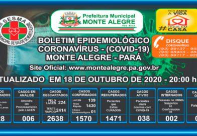 Boletim Epidemiológico Monte Alegre – PA- 18/10/2020