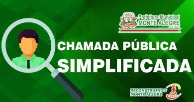 HOMOLOGAÇÃO DO RESULTADO DA CHAMADA PÚBLICA SIMPLIFICADA EDITAL 001/2021